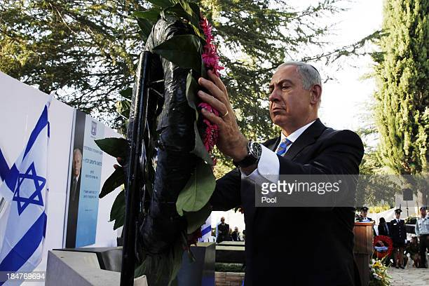 Israeli Prime Minister Benjamin Netanyahu lays a wreath during a ceremony marking eighteenth anniversary of the assassination of Yitzhak Rabin on...