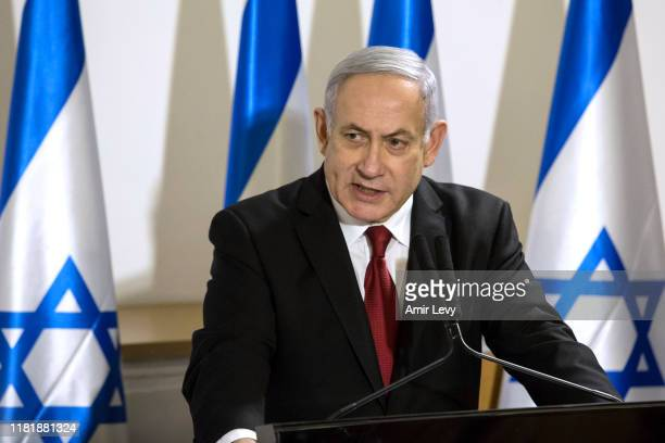 Israeli Prime Minister Benjamin Netanyahu makes a statement following latest development on November 12 2019 in Tel Aviv Israel The IDF have...