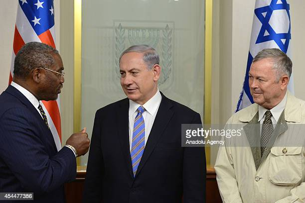 Israeli Prime Minister Benjamin Netanyahu meets with members of US House of representatives Dana Rohrabacher and Gregory Meeks at his office in...