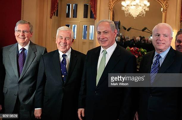 Israeli Prime Minister Benjamin Netanyahu meets with US Senators including Senate Republican Leader Sen Mitch McConnell Sen Richard Lugar and Sen...
