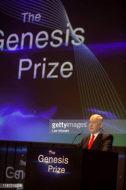Israeli Prime Minister Benjamin Netanyahu performs on stage during the Genesis Prize ceremony at The Jerusalem Theater on June 20 2019 in Jerusalem...