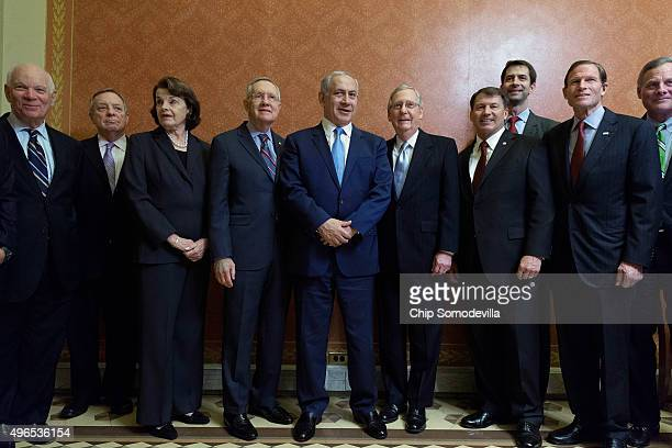 Israeli Prime Minister Benjamin Netanyahu poses for photographs with Sen Ben Cardin Senate Minority Whip Richard Durbin Sen Dianne Feinstein Senate...