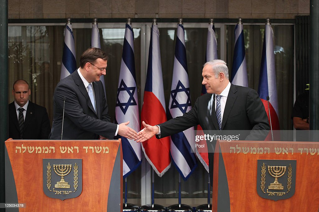 Israeli Prime Minister Benjamin Netanyahu Meets With Czech Prime Minister Petr Necas