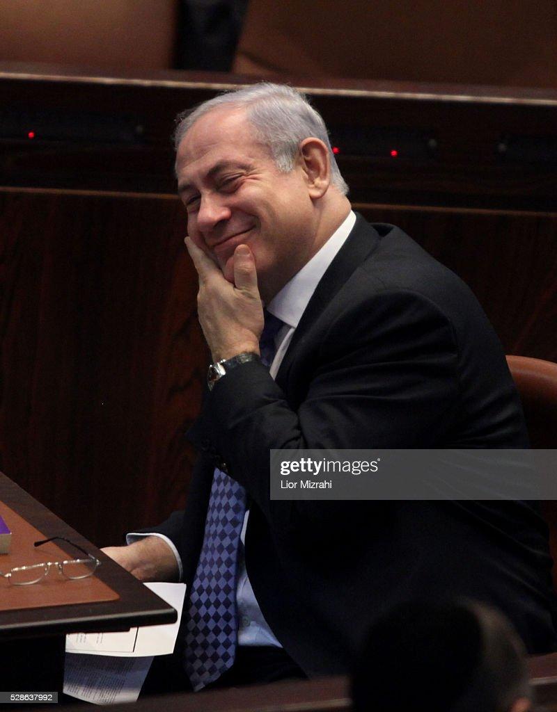 Israeli Prime Minister Benjamin Netanyahu smiles during a session of the Knesset, Israeli Parliament, on December 29, 2010 in Jerusalem, Israel.