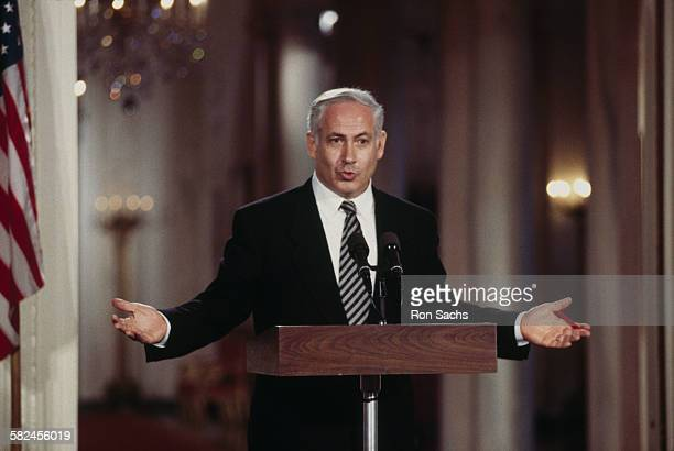 Israeli Prime Minister Benjamin Netanyahu speaking at a White House press conference, Washington DC, 9th July 1996. Netanyahu is on his first...