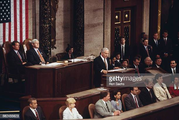 Israeli Prime Minister Benjamin Netanyahu speaking before a joint session of Congress, Washington DC, 10th July 1996. Netanyahu is on his first...