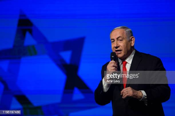 Israeli Prime Minister Benjamin Netanyahu speaks at a Likud Party campaign rally on January 21 2020 in Jerusalem Israel Israel to hold third election...