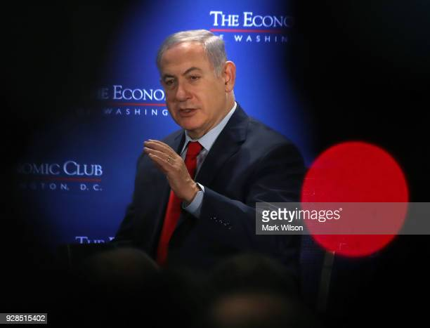 Israeli Prime Minister Benjamin Netanyahu speaks during a breakfast hosted by the Economic Club of Washington on March 7 2018 in Washington DC
