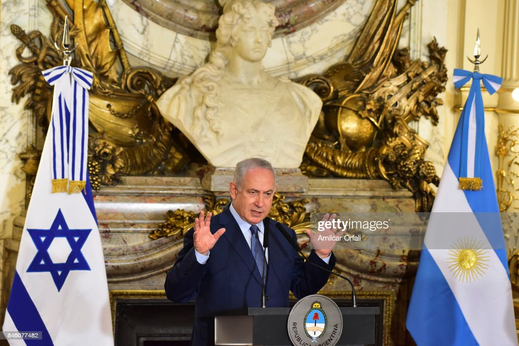 Israeli Prime Minister Benjamin Netanyahu speaks during a meeting as part of the official visit of Israeli Prime Minister Benjamin Netanyahu to Buenos Aires at Casa Rosada on September 12, 2017 in Buenos Aires, Argentina.