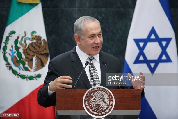 Israeli Prime Minister Benjamin Netanyahu speaks during a meeting as part of the official visit of Israeli Prime Minister Benjamin Netanyahu to...