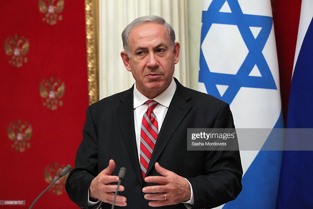 Israeli Prime Minister Benjamin Netanyahu speaks during a meeting with Russian President Vladimir Putin in the Kremlin on November 20, 2013 Moscow, Russia. Netanyahu made a one-day visit to Russia to press Putin on a deal concerning Iran's nuclear activities.