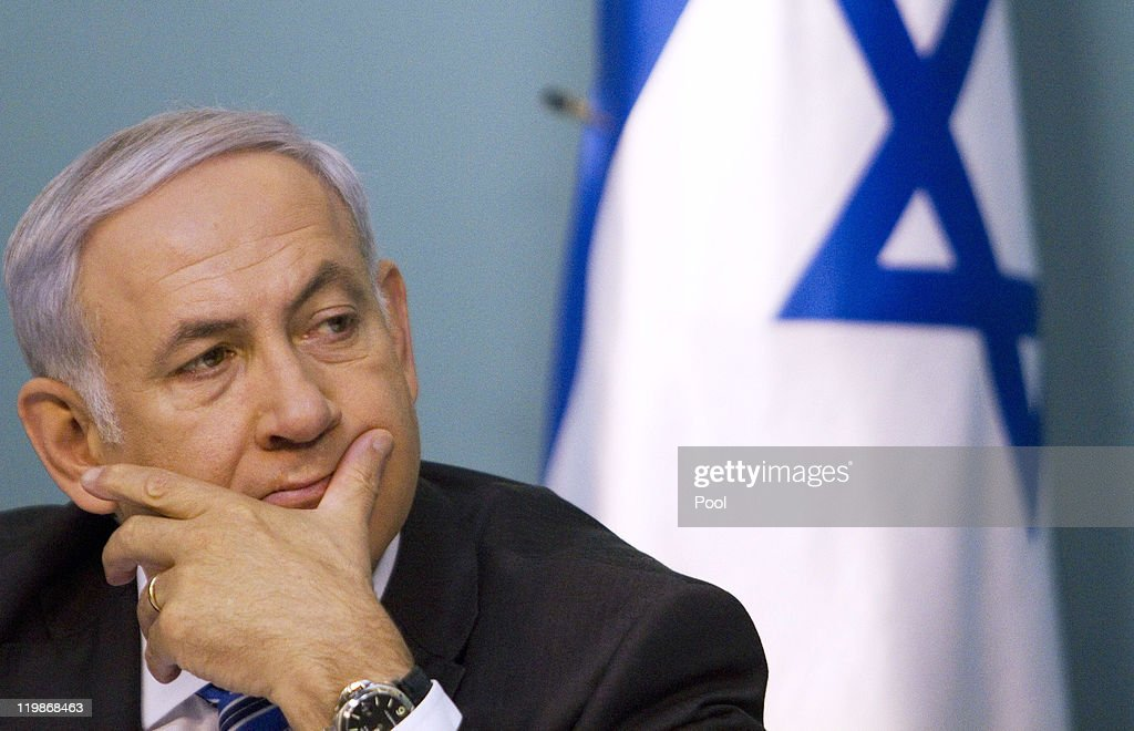 Israeli PM Holds Press Conference : News Photo
