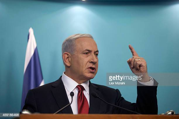 Israeli Prime Minister Benjamin Netanyahu speaks during a press conference on November 18 2014 in Jerusalem Israel Netanyahu said incitement by the...