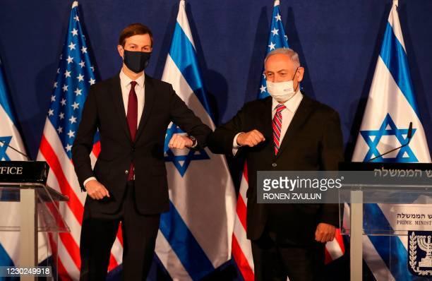 Israeli Prime Minister Benjamin Netanyahu speaks during a press conference with US Presidential Adviser Jared Kushner in Jerusalem on December 21,...
