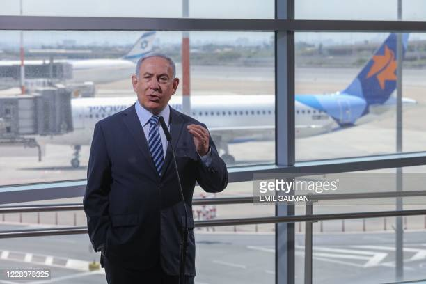Israeli Prime Minister Benjamin Netanyahu speaks during a visit to the Ben Gurion International Airport in Lod, on August 17, 2020. - Israel said on...
