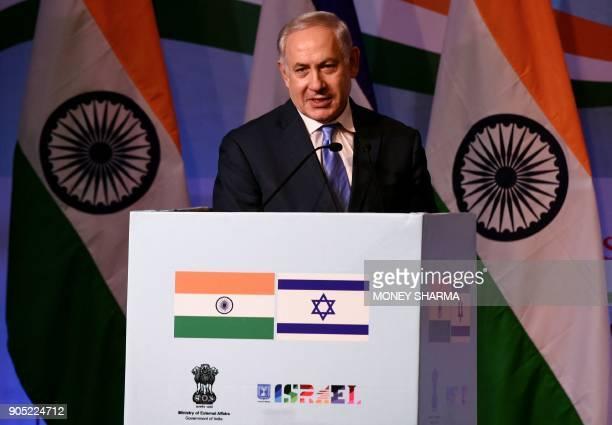 Israeli Prime Minister Benjamin Netanyahu speaks during the IndiaIsrael Business Summit in New Delhi on January 15 2018 Benjamin Netanyahu hailed a...