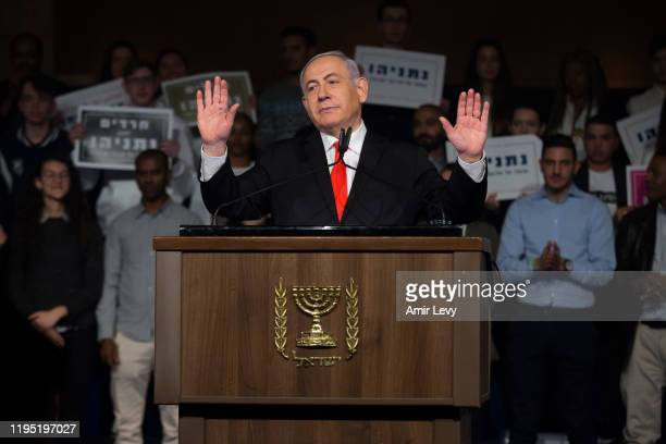 Israeli Prime Minister, Benjamin Netanyahu speaks to supporters at a Likud Party campaign rally on January 21, 2020 in Jerusalem, Israel. Israel to...