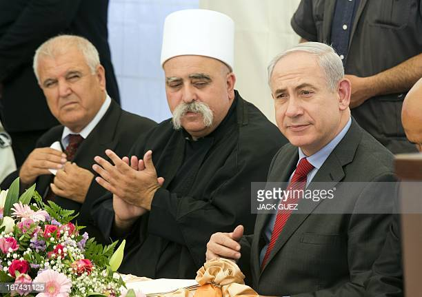 Israeli Prime Minister Benjamin Netanyahu takes part in the occasion of the Nabi Shoaib holiday on April 25 2013 in the Druze village of Julis north...