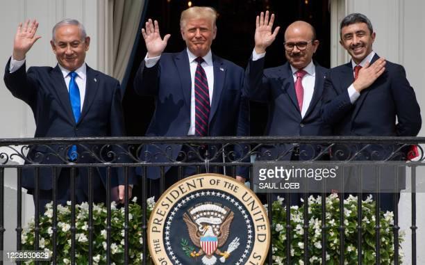 Israeli Prime Minister Benjamin Netanyahu, US President Donald Trump, Bahrain Foreign Minister Abdullatif al-Zayani, and UAE Foreign Minister...