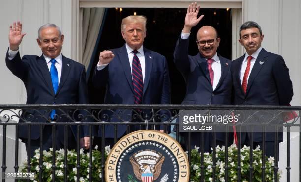 Israeli Prime Minister Benjamin Netanyahu US President Donald Trump Bahrain Foreign Minister Abdullatif alZayani and UAE Foreign Minister Abdullah...