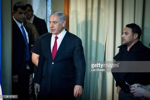 Israeli Prime Minister Benjamin Netanyahu walking into a press room to make a statement to the press in his offices on February 28 2019 in Jerusalem...