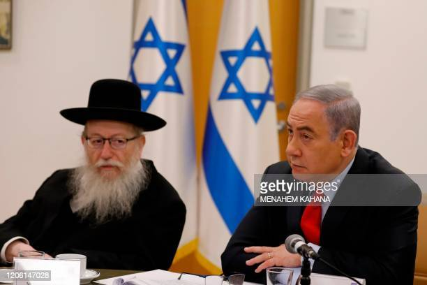 Israeli Prime Minister Benjamin Netayahu and Health Minister Yaakov Litzman hold a video conference with European leaders in order to discuss...