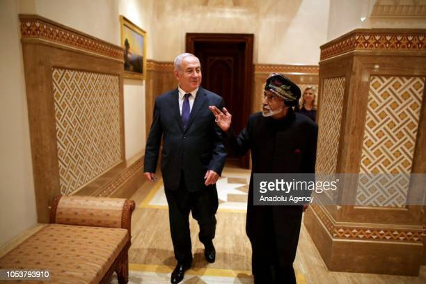 Israeli Prime Minister Binyamin Netanyahu attends a meeting with Sultan of Oman Sayyid Qaboos bin Said Al Said in Muscat Oman on October 26 2018