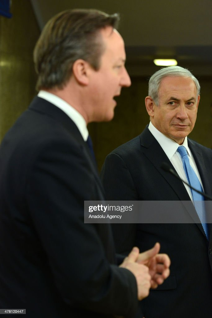 Israeli Prime Minister Binyamin Netanyahu (R) meets with Prime Minister of United Kingdom David Cameron (L) in the office prime ministry in Jerusalem, Israel on March 12, 2014.