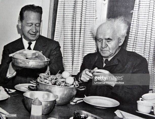 Israeli Prime Minister David Ben Gurion 18861973 with Dag Hammarskjold Swedish SecretaryGeneral of the United Nations from April 1953 until his death...