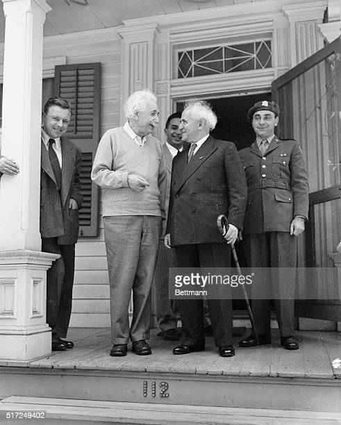 Israeli Prime Minister David BenGurion stopped off to visit Professor Albert Einstein at his home in Princeton New Jersey today on his first leg of...