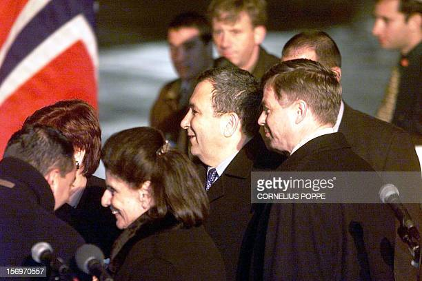 Israeli Prime Minister Ehud Barak and Yitzhak Rabin's widow, Leah Rabin , flanked by Norwegian Prime Minister Kjell Magne Bondevik , are welcomed at...