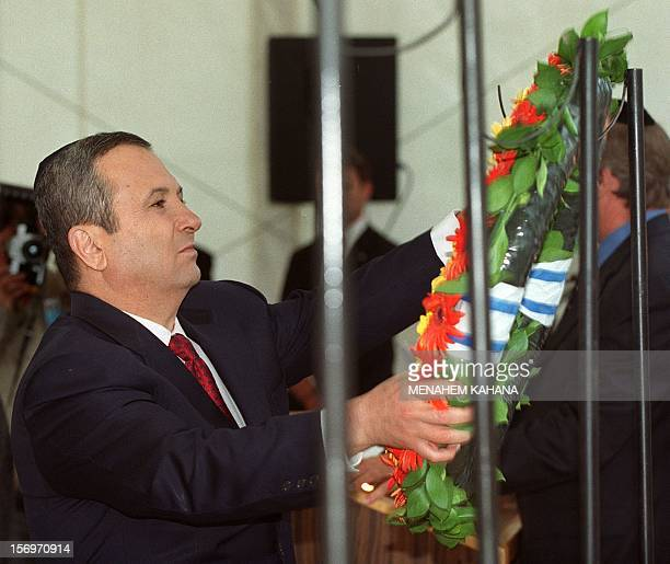 Israeli Prime Minister Ehud Barak lays a wreath in the Yad Lebanim memorial for fallen Israeli soldiers, on the eve of the Memorial Day in Jerusalem...
