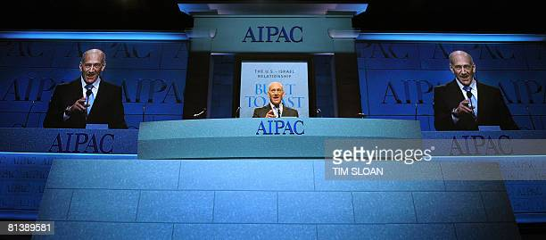 Israeli Prime Minister Ehud Olmert addresses the American Israel Public Affairs Committee on June 3 2008 in Washington DC This is AIPAC's largest...