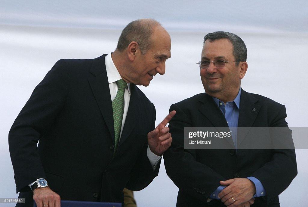 Ehud Olmert And Ehud Barak : News Photo