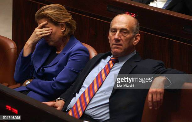 Israeli Prime Minister Ehud Olmert and Foreign Minister Tzipi Livni are seen in the Knesset Israel Parliament on May 03 2007 in Jerusalem Israel