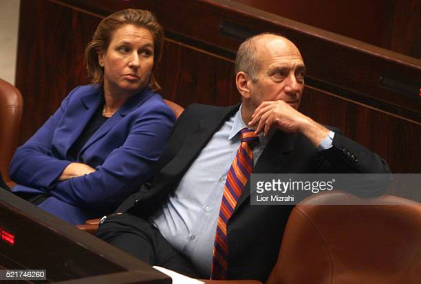 Israeli Prime Minister Ehud Olmert and Foreign Minister Tzipi Livni are seen in the Knesset, Israel Parliament, on May 03, 2007 in Jerusalem, Israel.