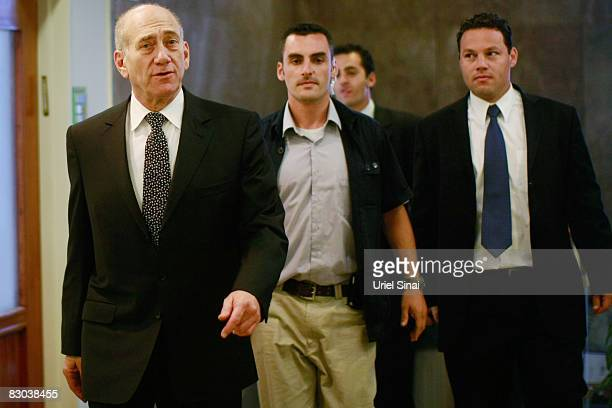 Israeli Prime Minister Ehud Olmert arrives at the weekly cabinet meeting on September 28, 2008 in Jerusalem, Israel. Olmert is staying on as PM until...