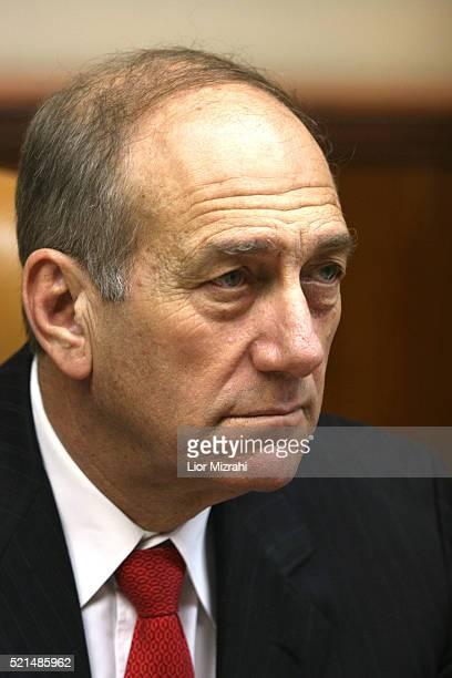 Israeli Prime Minister Ehud Olmert at the weekly cabinet meeting in Jerusalem on Sunday, June 18, 2006.