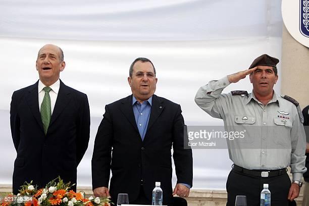 Israeli Prime Minister Ehud Olmert , Defence Minister Ehud Barak and Chief of Staff Lt Gen Gabi Ashkenazi are seen during a ceremony on July 31, 2007...
