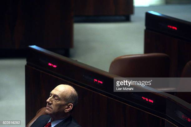 Israeli Prime Minister Ehud Olmert is seen during a Knesset session, Israeli Parliament on February 04, 2008 in Jerusalem, Israel.