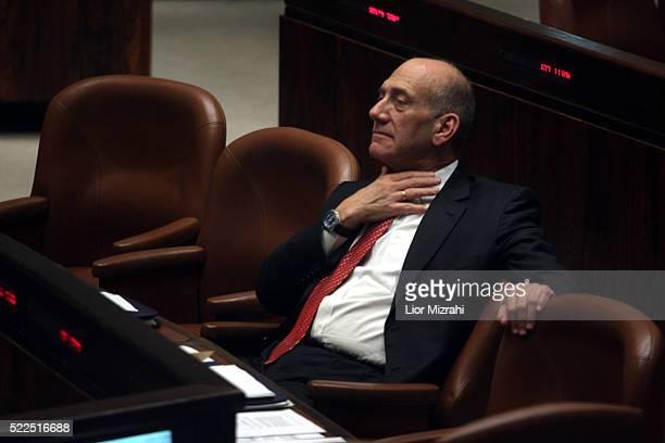 Israeli Prime Minister Ehud Olmert is seen during a Knesset session, Israeli Parliament on June 25, 2008 in Jerusalem, Israel.