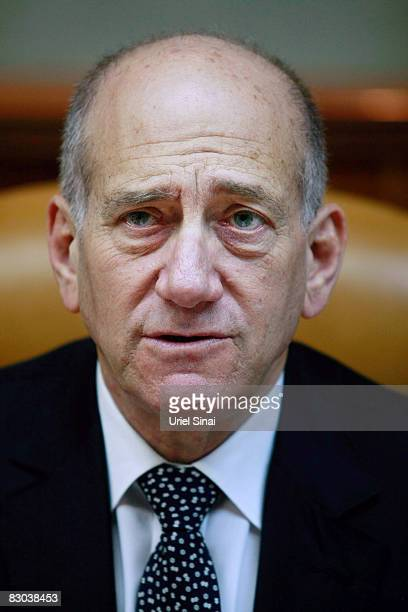 Israeli Prime Minister Ehud Olmert makes his opening remarks to the weekly cabinet meeting on September 28, 2008 in Jerusalem, Israel. Olmert is...