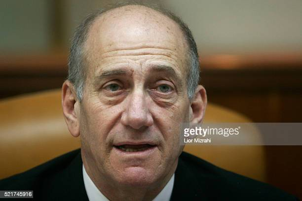 Israeli Prime Minister Ehud Olmert pauses during the weekly cabinet meeting in Jerusalem Sunday February 11 2006 Olmert on Sunday said that Israel is...