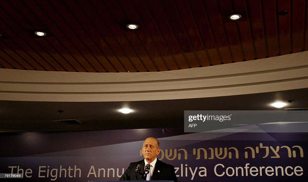 Israeli Prime Minister Ehud Olmert speaks at a security conference in the coastal city of Herzliya, near Tel Aviv, 23 January 2008. Olmert said today he was determined to strike a peace accord with the Palestinians, saying the current leadership was the best to negotiate with.
