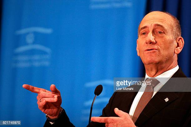 Israeli Prime Minister Ehud Olmert speaks during an annual meeting with foreign journalists in Jerusalem Wednesday February 21 2007 Olmert urged the...
