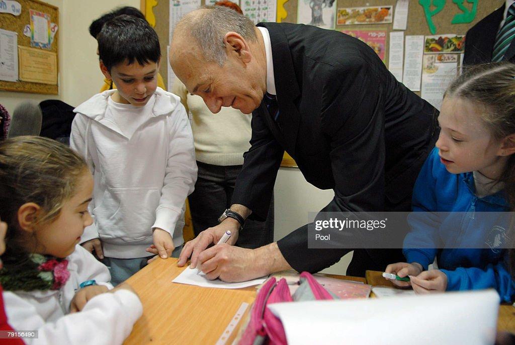 Israeli Prime Minister Ehud Olmert visits his elementary school on January 22, 2008 in Binyamina, Israel.