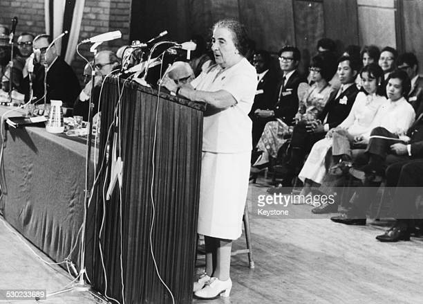 Israeli Prime Minister Golda Meir delivering her opening speech at the Rehovot Conference TelAviv Israel August 27th 1971