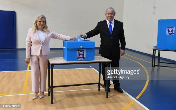 Israeli Prime Minister leader of Likud Party Benjamin Netanyahu and his wife Sara Netanyahu cast their votes during the Israeli legislative elections...