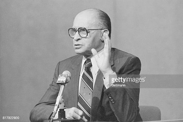 """Israeli Prime Minister Menachem Begin on the TV show """"Meet The Press"""" during a visit to New York."""