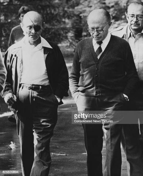 Israeli Prime Minister Menachem Begin with Israeli Foreign Minister Moshe Dayan at the end of the Camp David summit meetings near Thurmont Maryland...